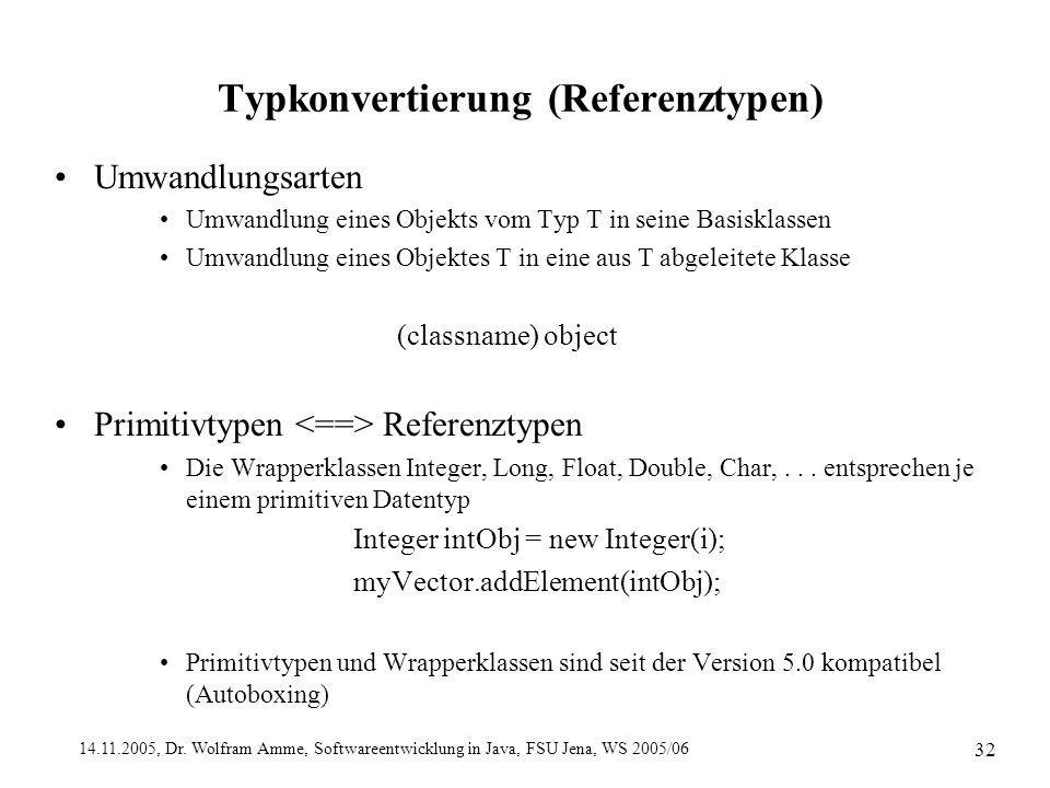 14.11.2005, Dr. Wolfram Amme, Softwareentwicklung in Java, FSU Jena, WS 2005/06 32 Typkonvertierung (Referenztypen) Umwandlungsarten Umwandlung eines