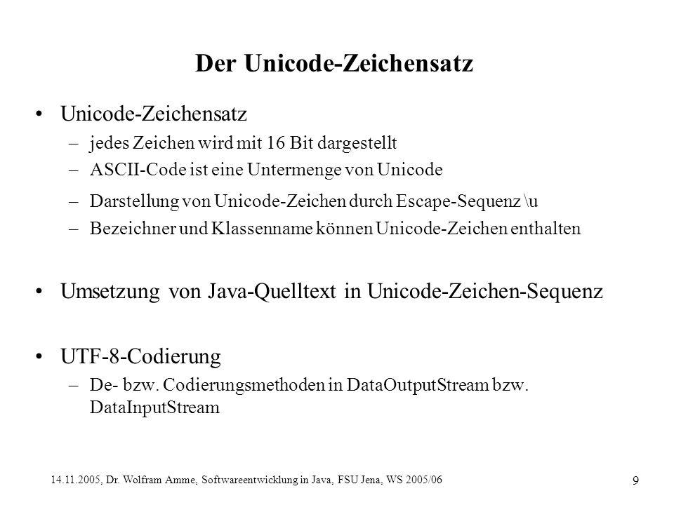 14.11.2005, Dr. Wolfram Amme, Softwareentwicklung in Java, FSU Jena, WS 2005/06 9 Der Unicode-Zeichensatz Unicode-Zeichensatz –jedes Zeichen wird mit