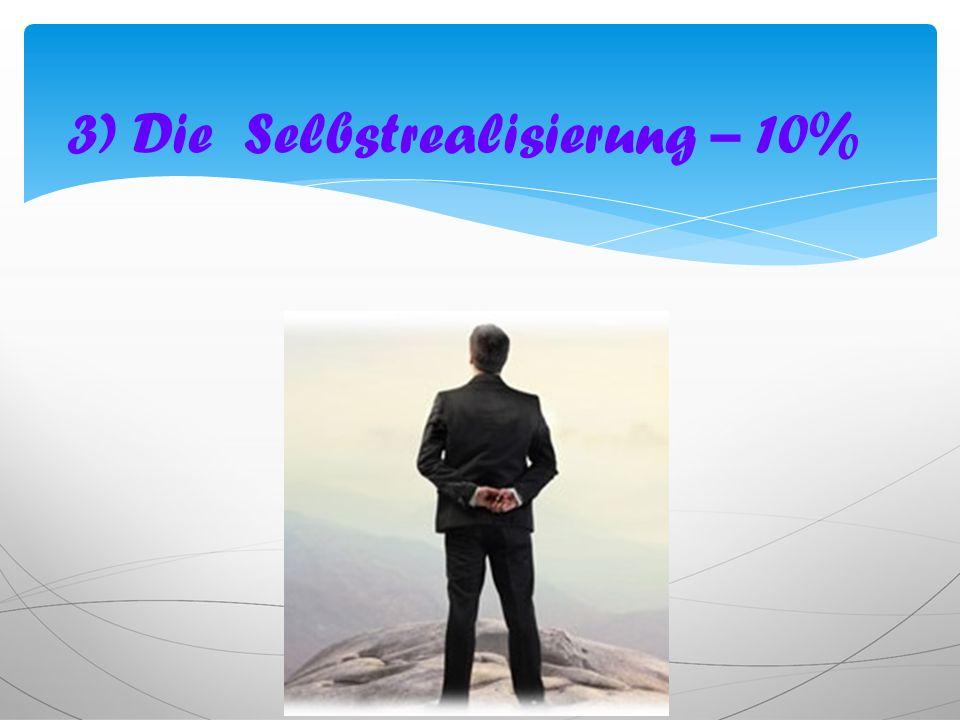 3) Die Selbstrealisierung – 10%