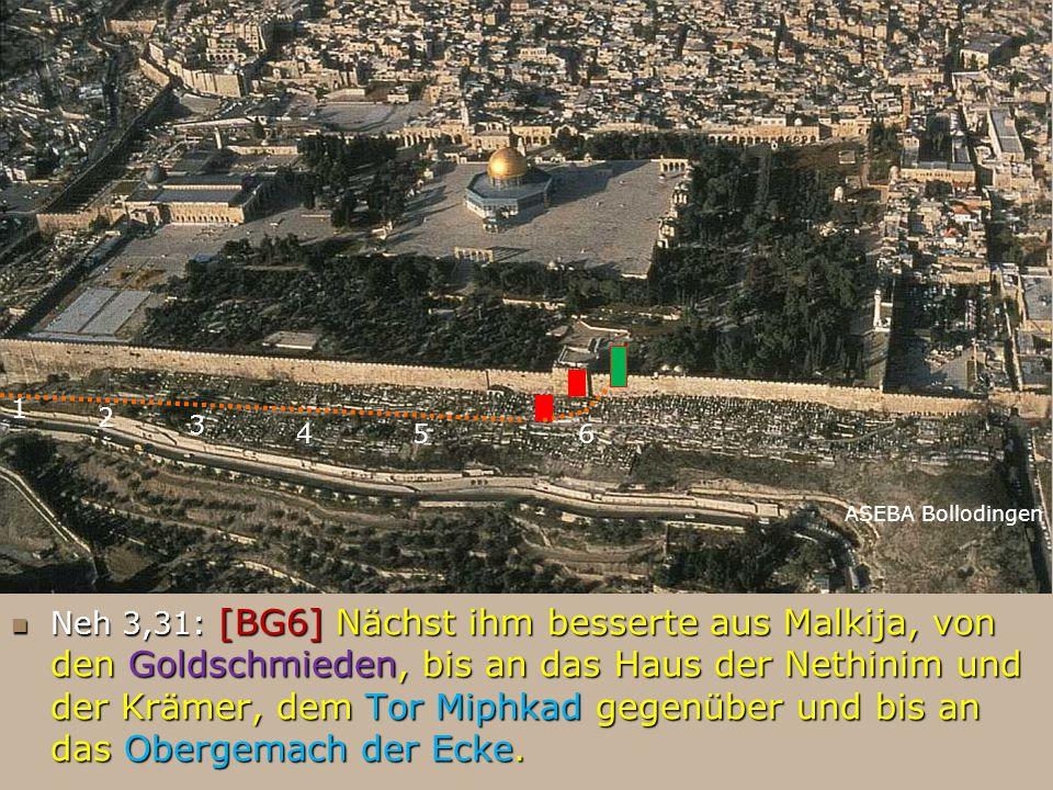 FB ASEBA Bollodingen 1 Neh 3,31: [BG6] Nächst ihm besserte aus Malkija, von den Goldschmieden, bis an das Haus der Nethinim und der Krämer, dem Tor Mi