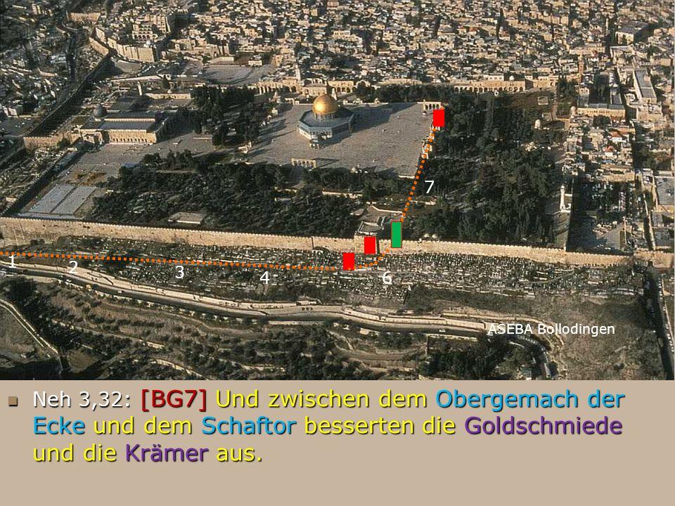ASEBA Bollodingen 1 2 3 46 Neh 3,32: [BG7] Und zwischen dem Obergemach der Ecke und dem Schaftor besserten die Goldschmiede und die Krämer aus. Neh 3,