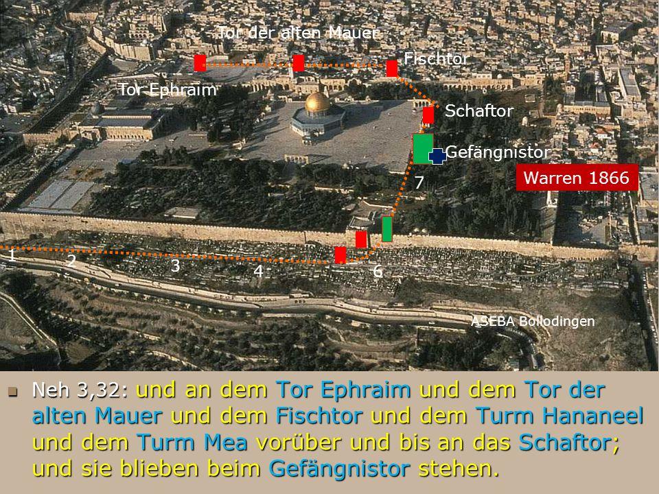 ASEBA Bollodingen 1 2 3 46 Neh 3,32: und an dem Tor Ephraim und dem Tor der alten Mauer und dem Fischtor und dem Turm Hananeel und dem Turm Mea vorübe