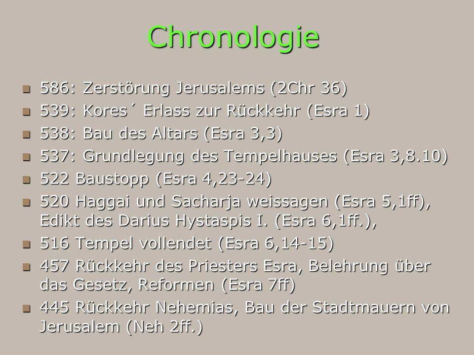 Chronologie 586: Zerstörung Jerusalems (2Chr 36) 586: Zerstörung Jerusalems (2Chr 36) 539: Kores´ Erlass zur Rückkehr (Esra 1) 539: Kores´ Erlass zur