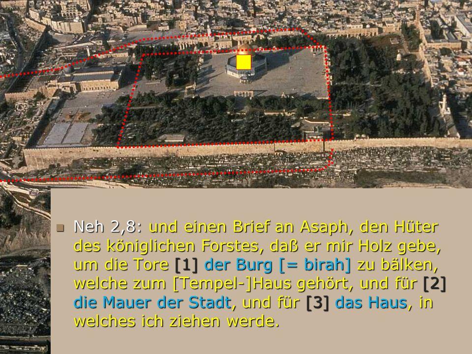 Neh 2,8: und einen Brief an Asaph, den Hüter des königlichen Forstes, daß er mir Holz gebe, um die Tore [1] der Burg [= birah] zu bälken, welche zum [