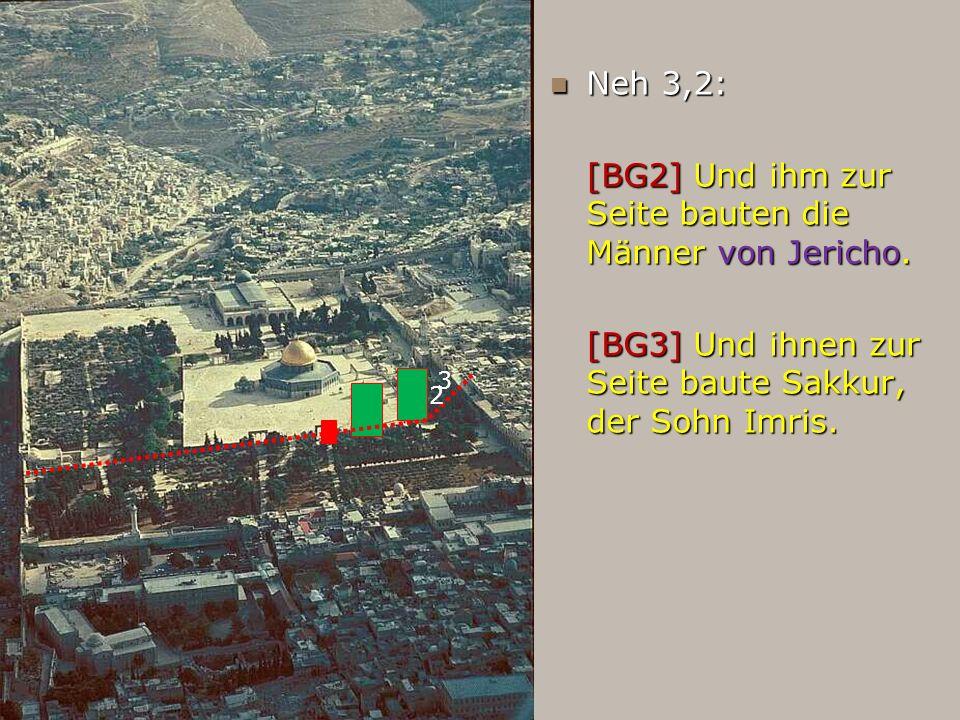 Neh 3,2: Neh 3,2: [BG2] Und ihm zur Seite bauten die Männer von Jericho. [BG3] Und ihnen zur Seite baute Sakkur, der Sohn Imris. 2 3