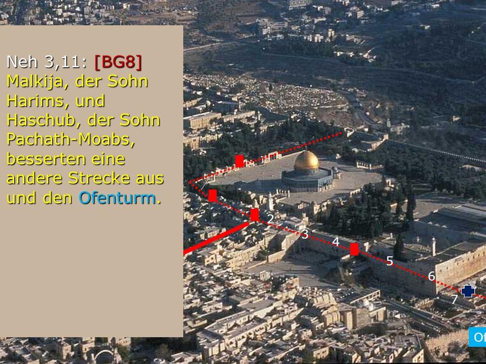 2 Neh 3,11: [BG8] Malkija, der Sohn Harims, und Haschub, der Sohn Pachath-Moabs, besserten eine andere Strecke aus und den Ofenturm. Neh 3,11: [BG8] M