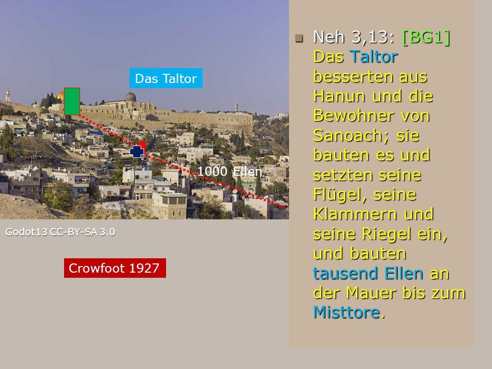 Godot13 CC-BY-SA 3.0 Neh 3,13: [BG1] Das Taltor besserten aus Hanun und die Bewohner von Sanoach; sie bauten es und setzten seine Flügel, seine Klamme