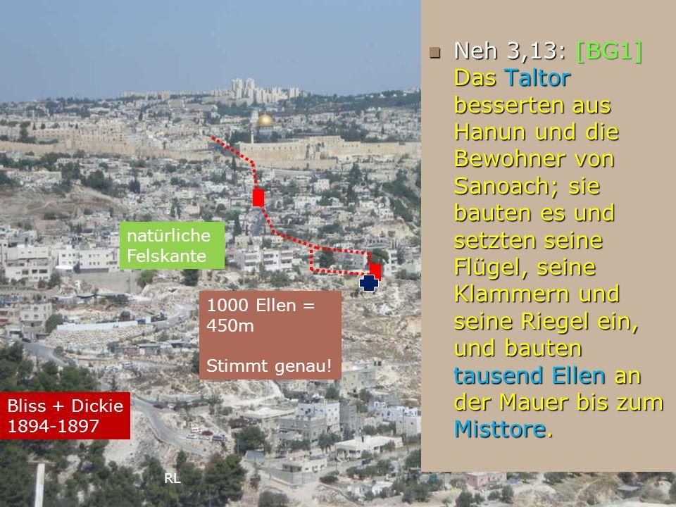 Neh 3,13: [BG1] Das Taltor besserten aus Hanun und die Bewohner von Sanoach; sie bauten es und setzten seine Flügel, seine Klammern und seine Riegel e