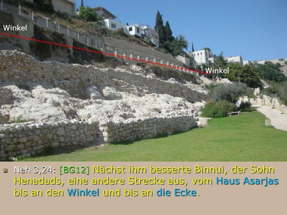 Neh 3,24: [BG12] Nächst ihm besserte Binnui, der Sohn Henadads, eine andere Strecke aus, vom Haus Asarjas bis an den Winkel und bis an die Ecke. Neh 3