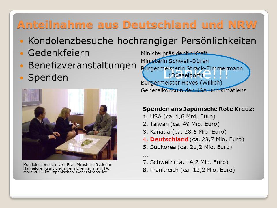 Anteilnahme aus Deutschland und NRW Kondolenzbesuche hochrangiger Persönlichkeiten Gedenkfeiern Benefizveranstaltungen Spenden Danke!!.