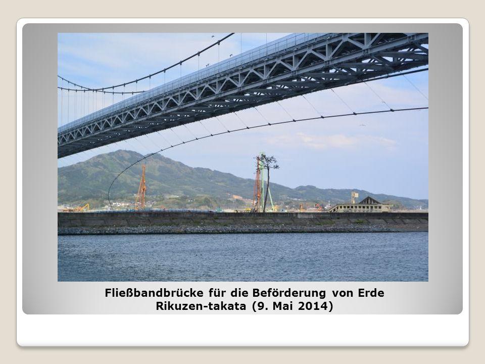 Fließbandbrücke für die Beförderung von Erde Rikuzen-takata (9. Mai 2014)