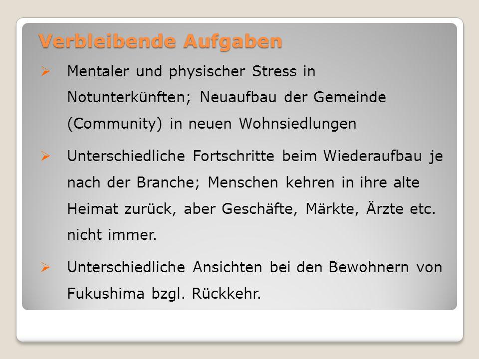 Verbleibende Aufgaben  Mentaler und physischer Stress in Notunterkünften; Neuaufbau der Gemeinde (Community) in neuen Wohnsiedlungen  Unterschiedlic