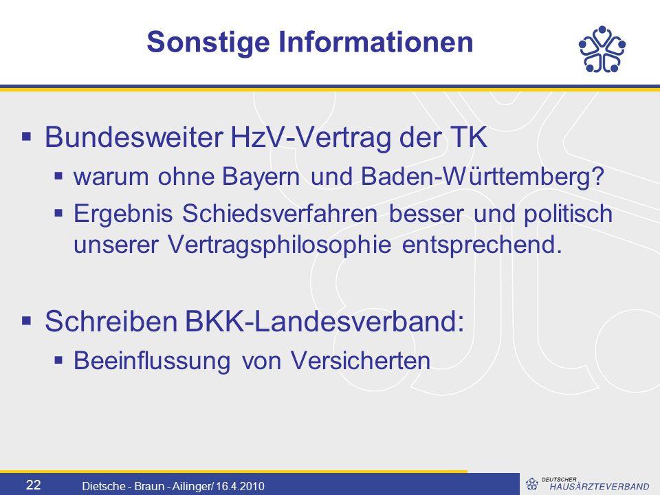 22 Dietsche - Braun - Ailinger/ 16.4.2010 Sonstige Informationen  Bundesweiter HzV-Vertrag der TK  warum ohne Bayern und Baden-Württemberg.