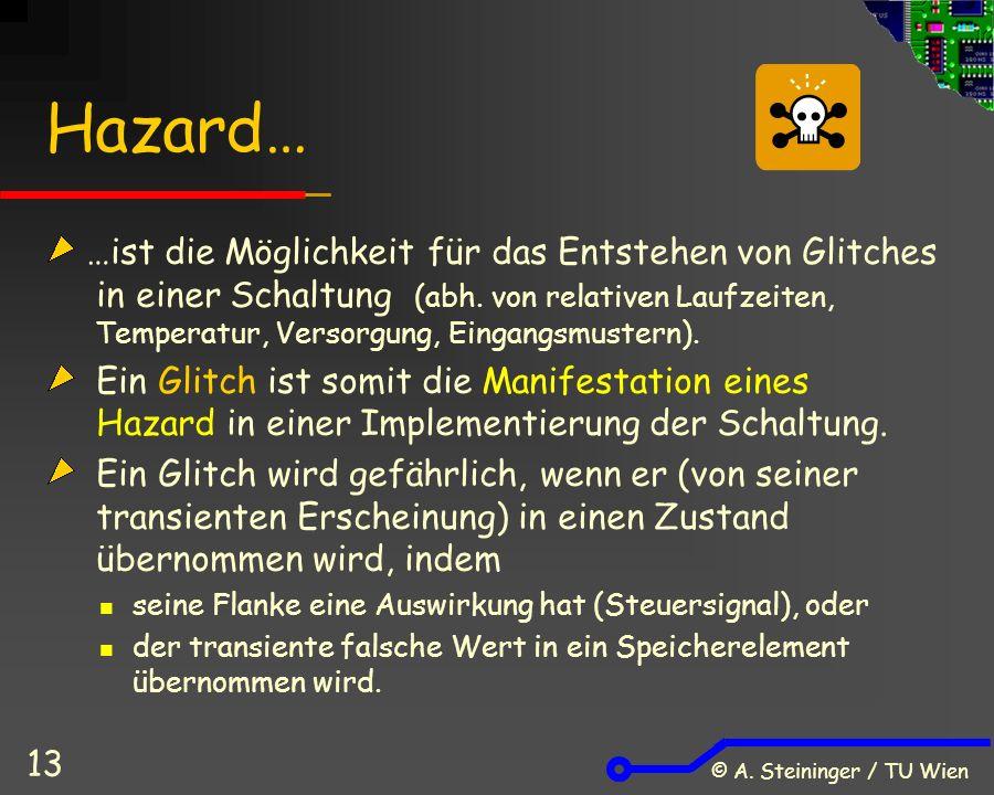 © A. Steininger / TU Wien 13 Hazard… …ist die Möglichkeit für das Entstehen von Glitches in einer Schaltung (abh. von relativen Laufzeiten, Temperatur