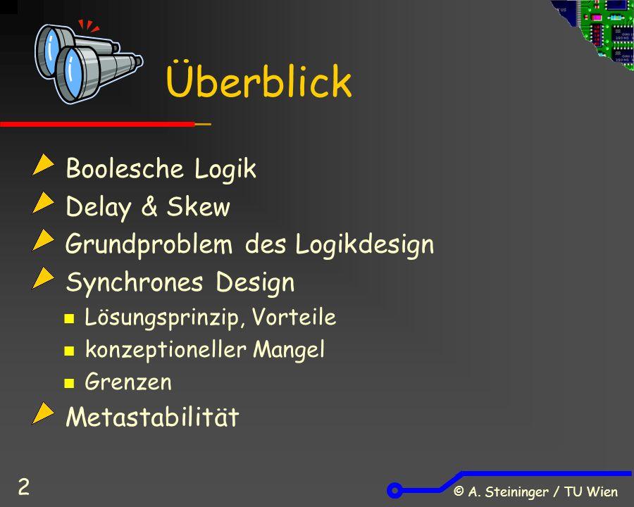 © A. Steininger / TU Wien 2 Boolesche Logik Delay & Skew Grundproblem des Logikdesign Synchrones Design Lösungsprinzip, Vorteile konzeptioneller Mange