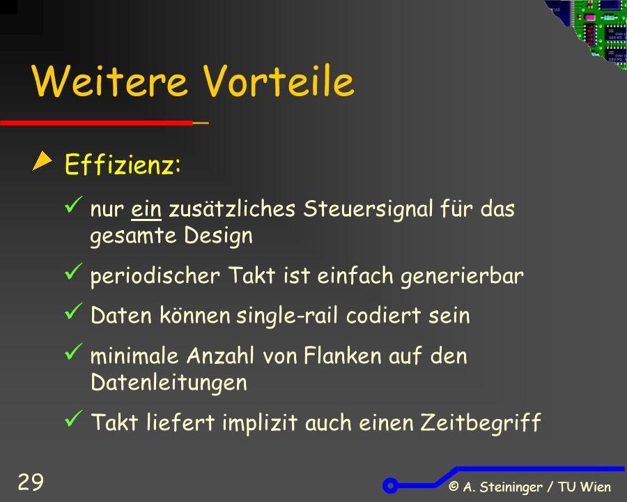© A. Steininger / TU Wien 29 Weitere Vorteile Effizienz: nur ein zusätzliches Steuersignal für das gesamte Design periodischer Takt ist einfach generi