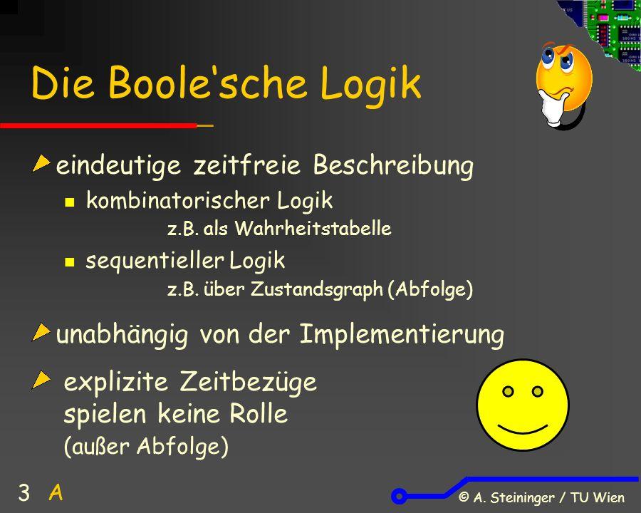 © A. Steininger / TU Wien 3 Die Boole'sche Logik eindeutige zeitfreie Beschreibung kombinatorischer Logik z.B. als Wahrheitstabelle sequentieller Logi