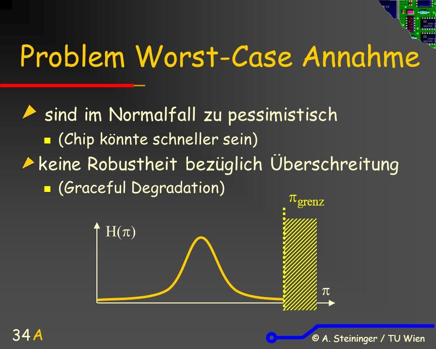 © A. Steininger / TU Wien 34 Problem Worst-Case Annahme sind im Normalfall zu pessimistisch (Chip könnte schneller sein) keine Robustheit bezüglich Üb