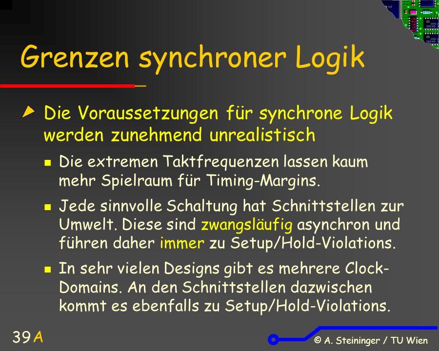 © A. Steininger / TU Wien 39 Grenzen synchroner Logik Die Voraussetzungen für synchrone Logik werden zunehmend unrealistisch Die extremen Taktfrequenz