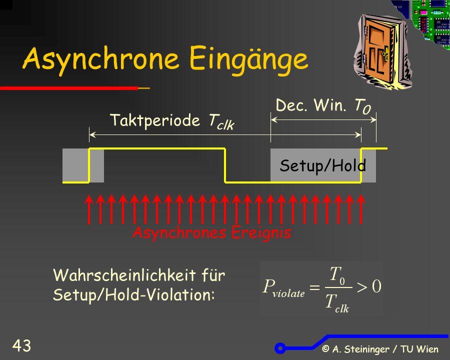 © A. Steininger / TU Wien 43 Asynchrone Eingänge Asynchrones Ereignis Setup/Hold Taktperiode T clk Dec. Win. T 0 Wahrscheinlichkeit für Setup/Hold-Vio