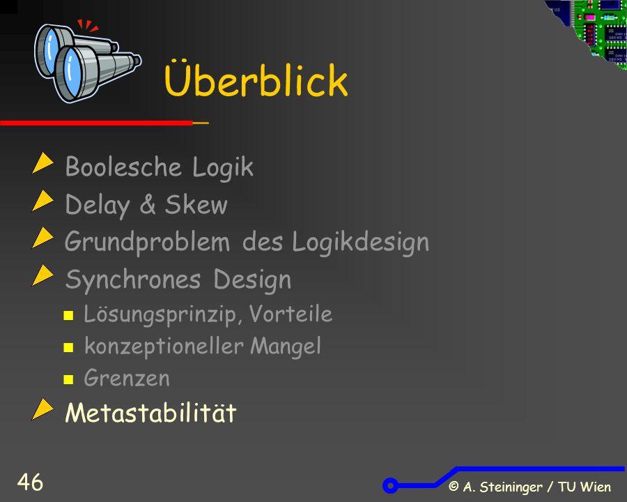 © A. Steininger / TU Wien 46 Boolesche Logik Delay & Skew Grundproblem des Logikdesign Synchrones Design Lösungsprinzip, Vorteile konzeptioneller Mang