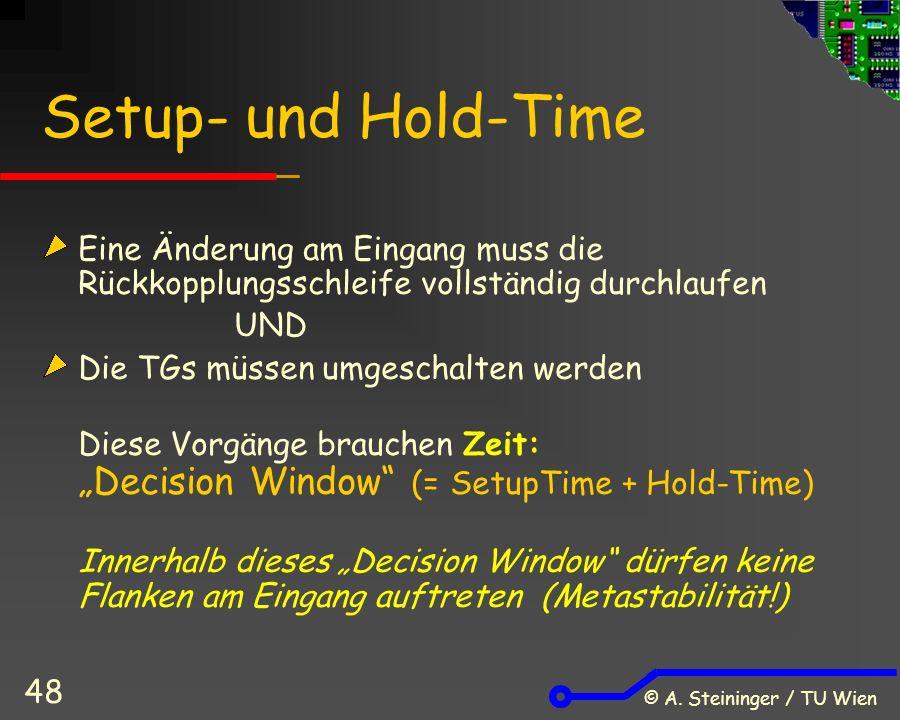 © A. Steininger / TU Wien 48 Setup- und Hold-Time Eine Änderung am Eingang muss die Rückkopplungsschleife vollständig durchlaufen UND Die TGs müssen u