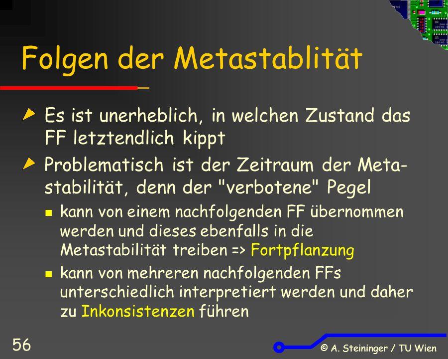 © A. Steininger / TU Wien 56 Folgen der Metastablität Es ist unerheblich, in welchen Zustand das FF letztendlich kippt Problematisch ist der Zeitraum