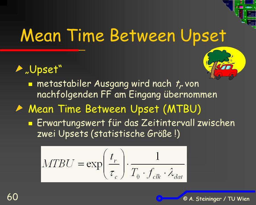 """© A. Steininger / TU Wien 60 Mean Time Between Upset """"Upset"""" metastabiler Ausgang wird nach t r von nachfolgenden FF am Eingang übernommen Mean Time B"""