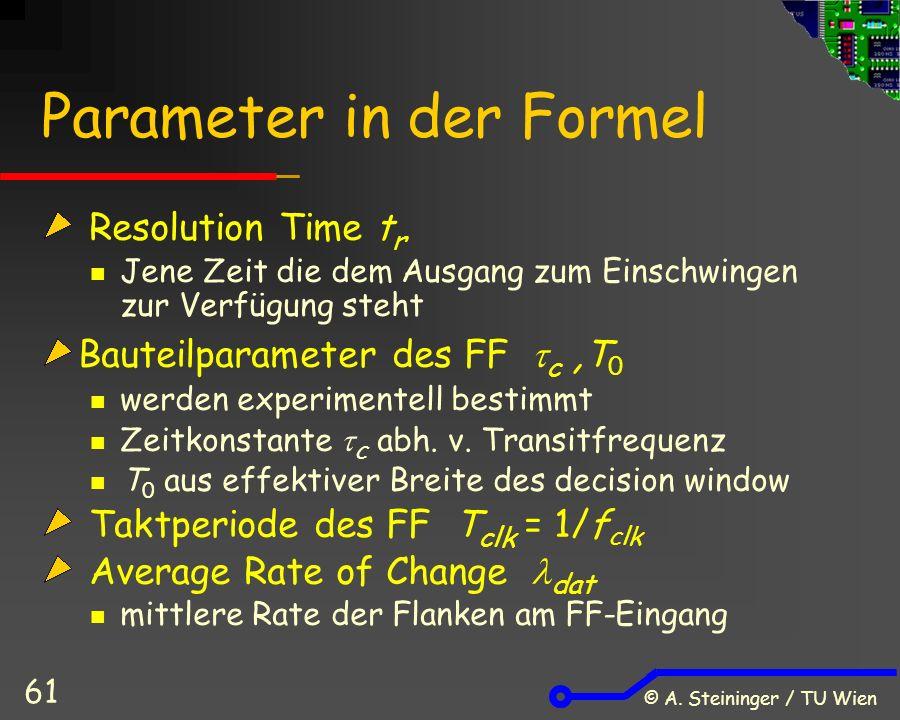 © A. Steininger / TU Wien 61 Parameter in der Formel Resolution Time t r Jene Zeit die dem Ausgang zum Einschwingen zur Verfügung steht Bauteilparamet