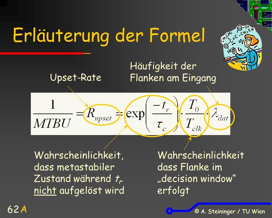 © A. Steininger / TU Wien 62 Erläuterung der Formel Wahrscheinlichkeit, dass metastabiler Zustand während t r nicht aufgelöst wird Wahrscheinlichkeit