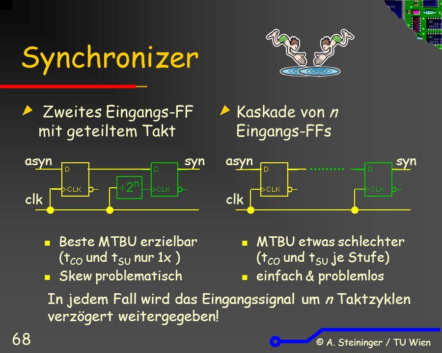 © A. Steininger / TU Wien 68 Synchronizer Zweites Eingangs-FF mit geteiltem Takt Beste MTBU erzielbar (t CO und t SU nur 1x ) Skew problematisch Kaska