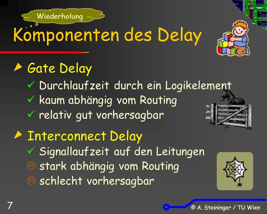 © A. Steininger / TU Wien 7 Komponenten des Delay Gate Delay Durchlaufzeit durch ein Logikelement kaum abhängig vom Routing relativ gut vorhersagbar I