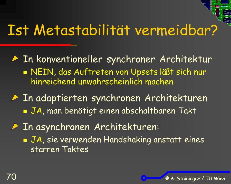© A. Steininger / TU Wien 70 Ist Metastabilität vermeidbar.