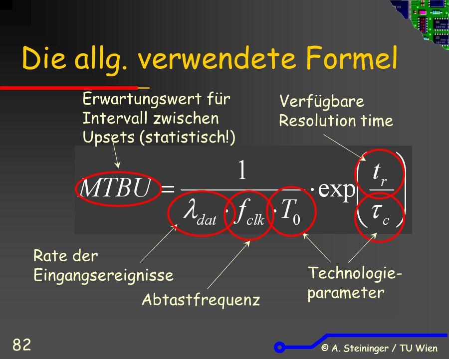 © A. Steininger / TU Wien 82 Rate der Eingangsereignisse Abtastfrequenz Technologie- parameter Erwartungswert für Intervall zwischen Upsets (statistis
