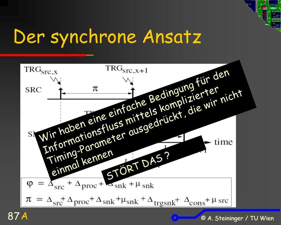 © A. Steininger / TU Wien 87 Wir haben eine einfache Bedingung für den Informationsfluss mittels komplizierter Timing-Parameter ausgedrückt, die wir n