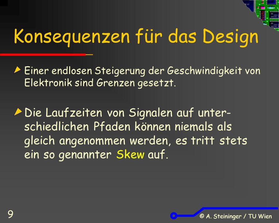 © A. Steininger / TU Wien 9 Konsequenzen für das Design Einer endlosen Steigerung der Geschwindigkeit von Elektronik sind Grenzen gesetzt. Die Laufzei