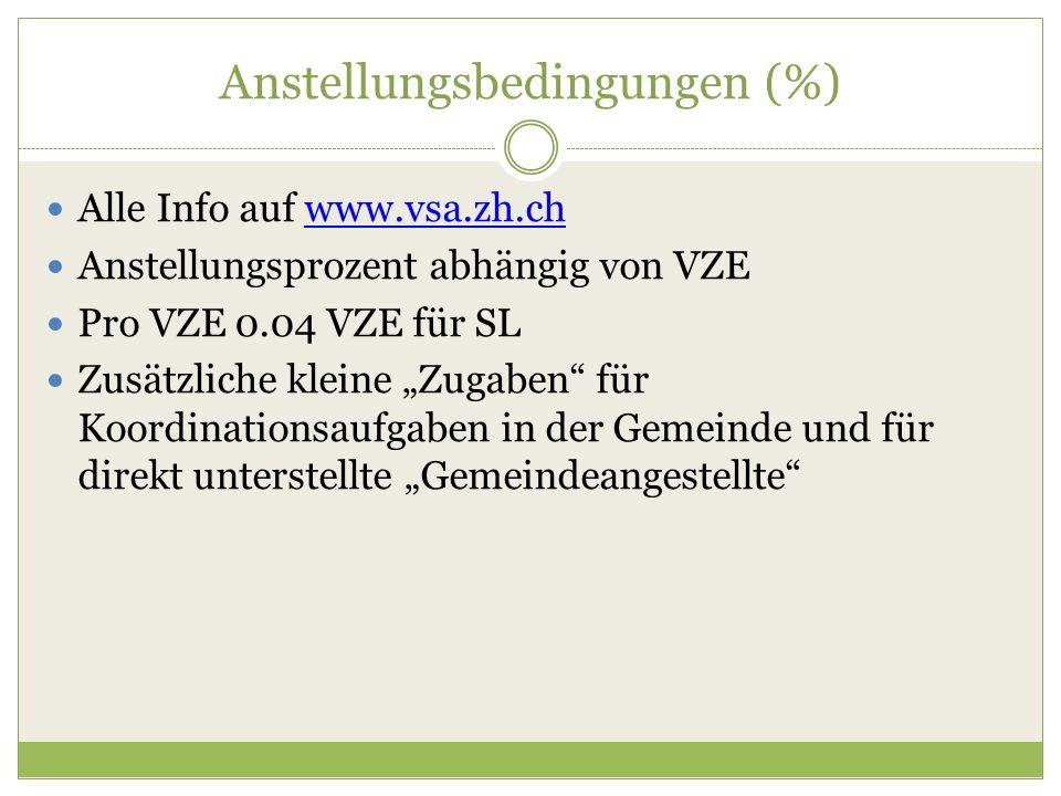 """Anstellungsbedingungen (%) Alle Info auf www.vsa.zh.chwww.vsa.zh.ch Anstellungsprozent abhängig von VZE Pro VZE 0.04 VZE für SL Zusätzliche kleine """"Zu"""