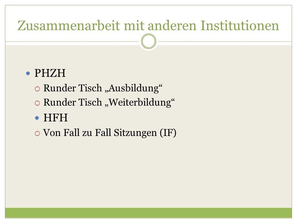 """Zusammenarbeit mit anderen Institutionen PHZH  Runder Tisch """"Ausbildung""""  Runder Tisch """"Weiterbildung"""" HFH  Von Fall zu Fall Sitzungen (IF)"""