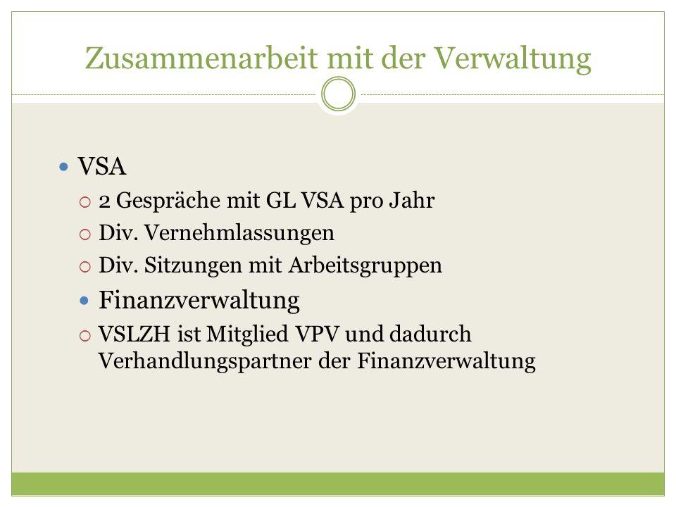 Zusammenarbeit mit der Verwaltung VSA  2 Gespräche mit GL VSA pro Jahr  Div. Vernehmlassungen  Div. Sitzungen mit Arbeitsgruppen Finanzverwaltung 