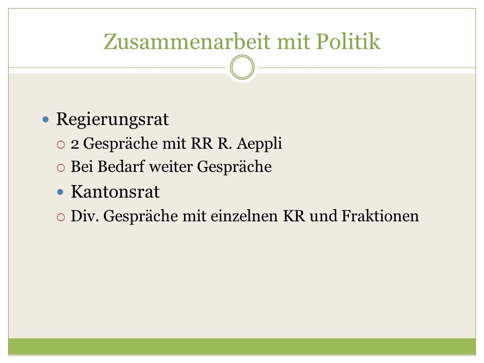 Zusammenarbeit mit Politik Regierungsrat  2 Gespräche mit RR R. Aeppli  Bei Bedarf weiter Gespräche Kantonsrat  Div. Gespräche mit einzelnen KR und