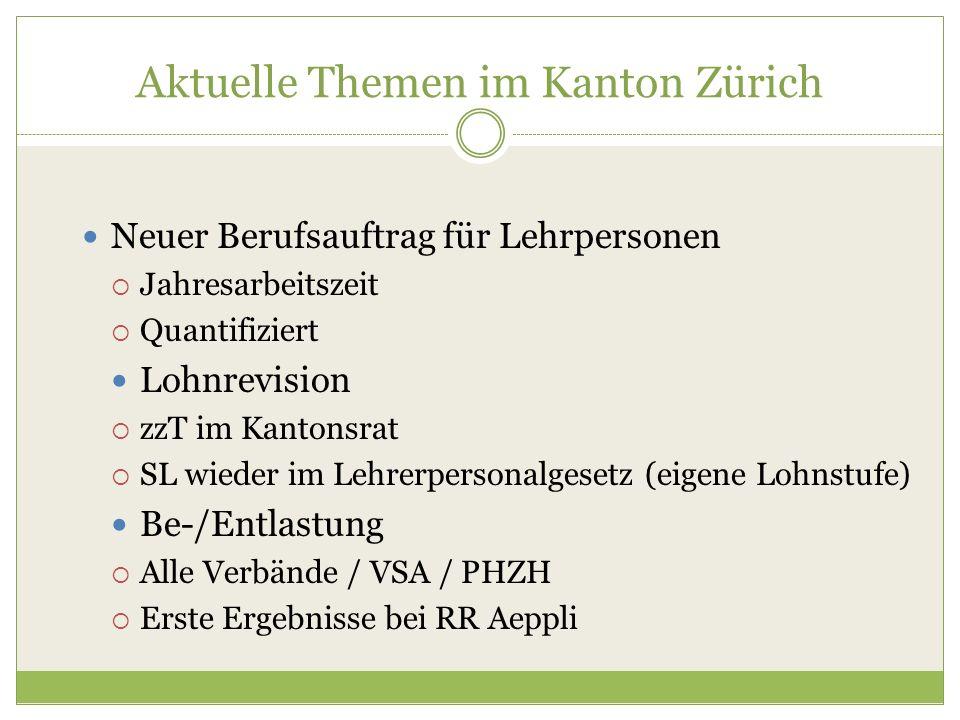 Aktuelle Themen im Kanton Zürich Neuer Berufsauftrag für Lehrpersonen  Jahresarbeitszeit  Quantifiziert Lohnrevision  zzT im Kantonsrat  SL wieder