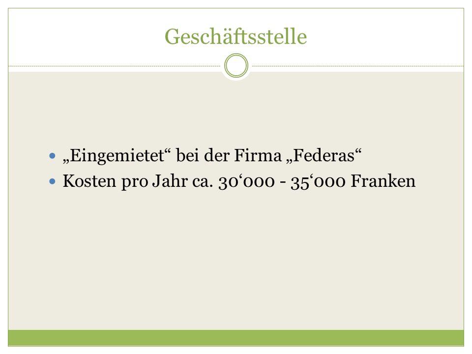 """Geschäftsstelle """"Eingemietet"""" bei der Firma """"Federas"""" Kosten pro Jahr ca. 30'000 - 35'000 Franken"""