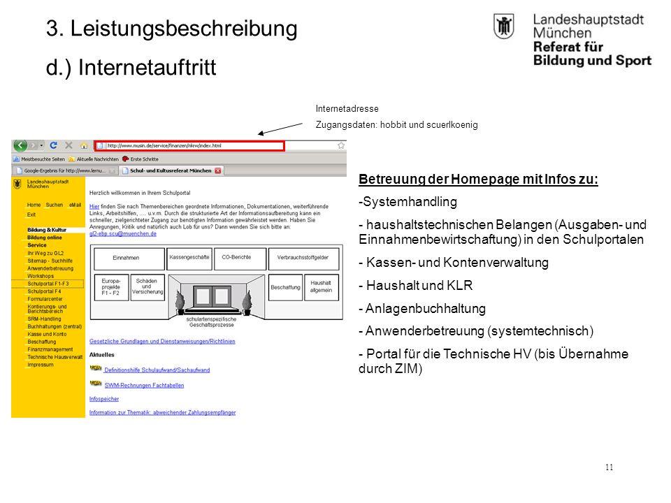 RBS_GL 2.11 (BK)25.01.12 11 3. Leistungsbeschreibung d.) Internetauftritt Betreuung der Homepage mit Infos zu: -Systemhandling - haushaltstechnischen