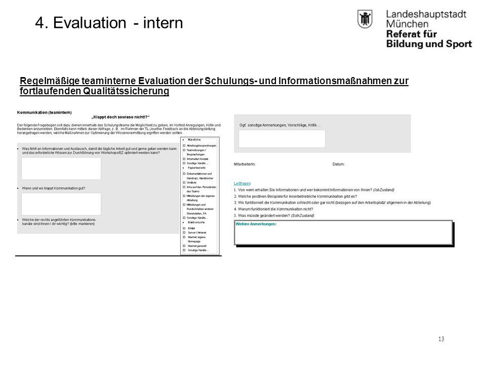 RBS_GL 2.11 (BK)25.01.12 13 4. Evaluation - intern Regelmäßige teaminterne Evaluation der Schulungs- und Informationsmaßnahmen zur fortlaufenden Quali