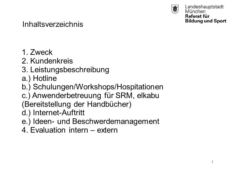 RBS_GL 2.11 (BK)25.01.12 2 1. Zweck 2. Kundenkreis 3. Leistungsbeschreibung a.) Hotline b.) Schulungen/Workshops/Hospitationen c.) Anwenderbetreuung f