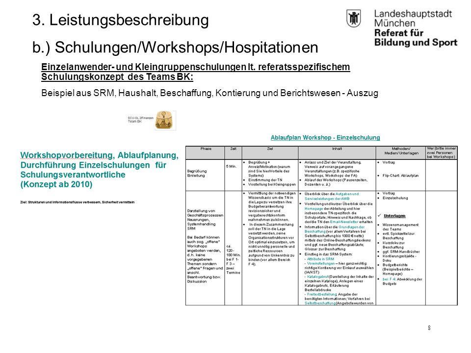 RBS_GL 2.11 (BK)25.01.12 8 3. Leistungsbeschreibung b.) Schulungen/Workshops/Hospitationen Einzelanwender- und Kleingruppenschulungen lt. referatsspez
