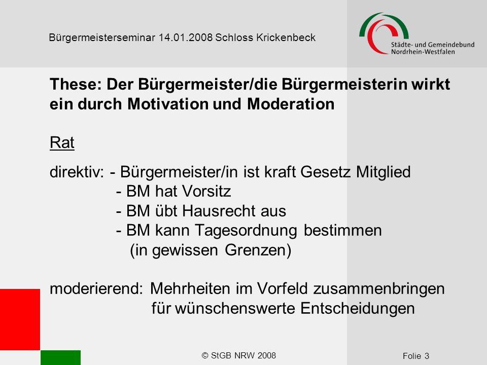 © StGB NRW 2008 Folie 14 Bürgermeisterseminar 14.01.2008 Schloss Krickenbeck Allzeit stark – souverän – dynamisch.