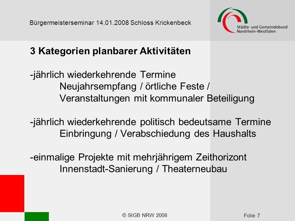 © StGB NRW 2008 Folie 8 Bürgermeisterseminar 14.01.2008 Schloss Krickenbeck Voraussetzungen für Agenda Setting -Professionelle Pressestelle (Personal / Ausstattung) mit Kapazität zum Planen -Umfassende und frühzeitige Information der Pressestelle über zentrale Projekte -Bereitschaft der Fachbereiche zur Weitergabe der Information