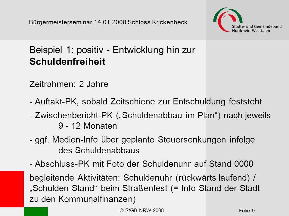 """© StGB NRW 2008 Folie 9 Bürgermeisterseminar 14.01.2008 Schloss Krickenbeck Beispiel 1: positiv - Entwicklung hin zur Schuldenfreiheit Zeitrahmen: 2 Jahre - Auftakt-PK, sobald Zeitschiene zur Entschuldung feststeht - Zwischenbericht-PK (""""Schuldenabbau im Plan ) nach jeweils 9 - 12 Monaten - ggf."""