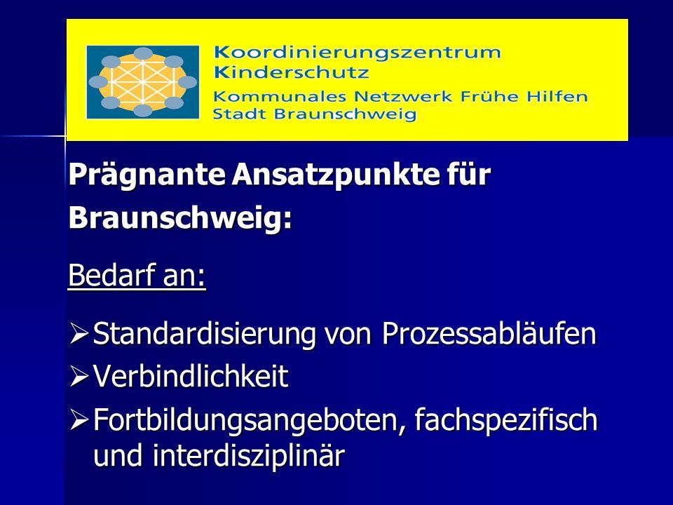 Prägnante Ansatzpunkte für Braunschweig: Bedarf an:  Standardisierung von Prozessabläufen  Verbindlichkeit  Fortbildungsangeboten, fachspezifisch u